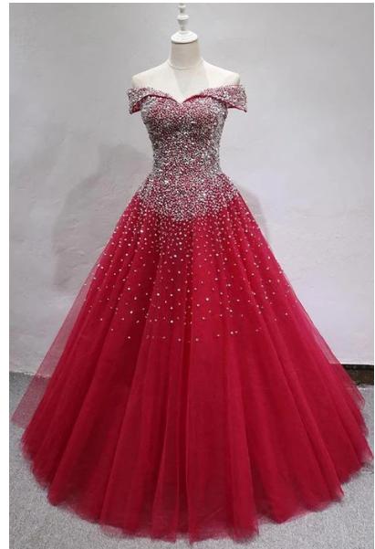 BURGUNDY TULLE SEQUIN LONG PROM DRESS, BURGUNDY TULLE EVENING DRESS,prom