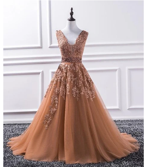 Lace Appliques Plunge V Sleeveless Floor Length Tulle Formal Dress, Prom