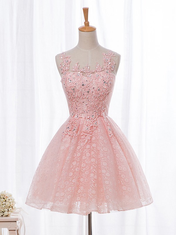 Pink Lace Round Neckline Graduation Party Dress, Cute Short Prom Dress