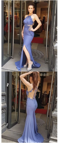 Sexy Lace Sleeveless Mermaid Prom Dresses, Spaghetti Straps Mermaid Evening