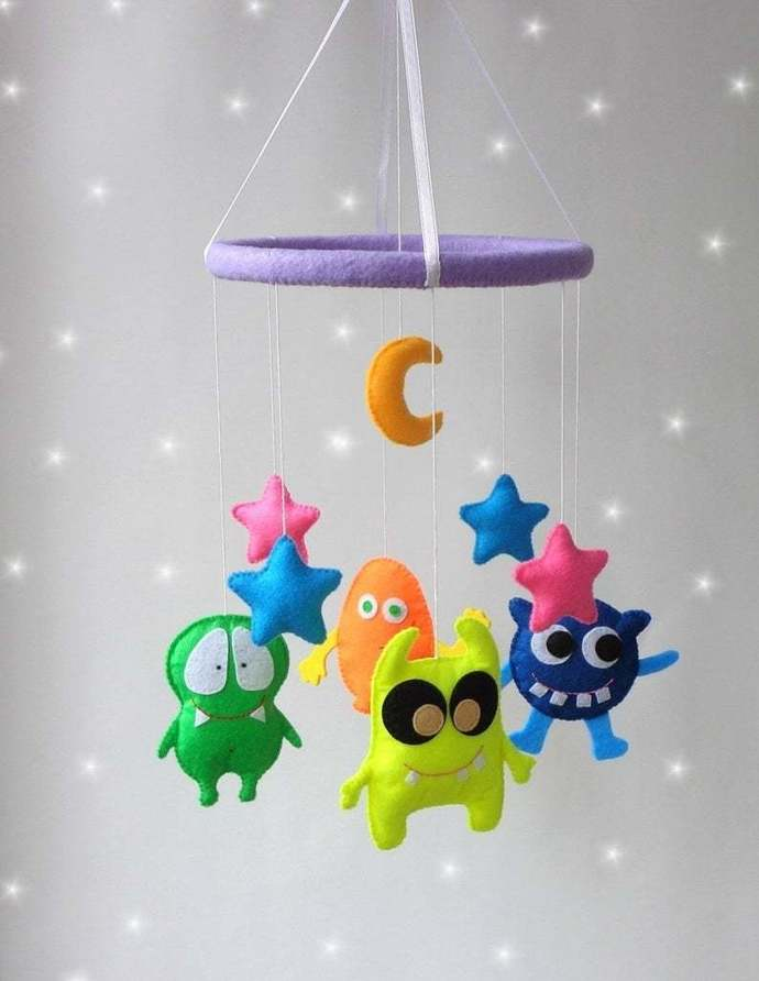 Baby mobile aliens stars moon nursery decor