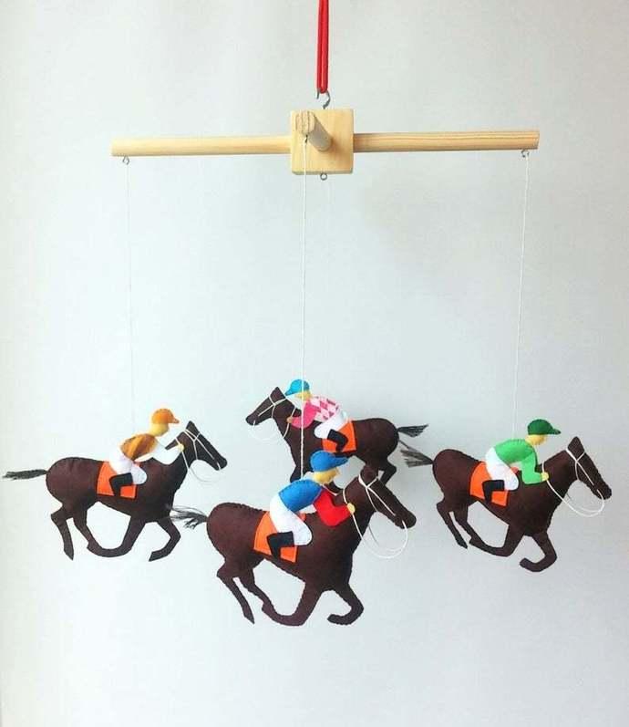 Crib mobile nursery animal mobile Horse felt