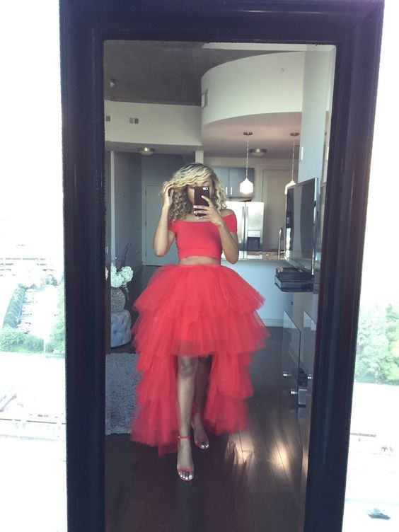 Two Pieces O-Neck A-line Prom Dresses,Long Prom Dresses,Cheap Prom Dresses,