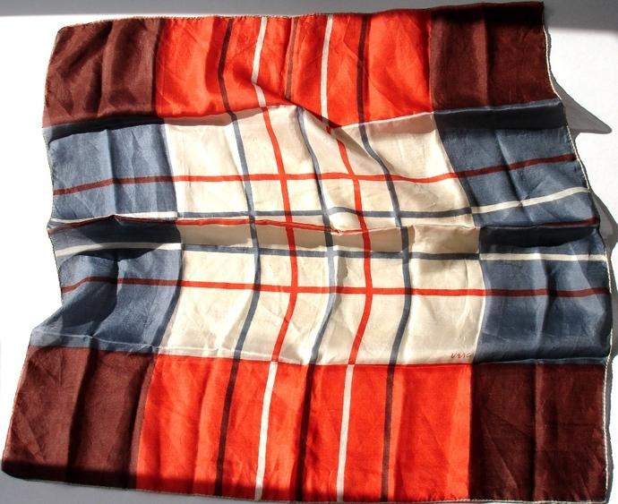 Vera Neumann Rust Brown White And Blue Gray Geometric 1940s Silk Scarf