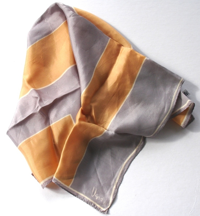 Vera Neumann 1970s Geometric Gray Rusty Gold And White Design Scarf
