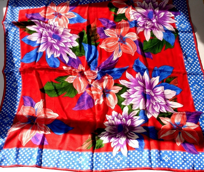 Vera Dahlia And Lillies Scarf In A Bold Red White Blue Pink And Purple