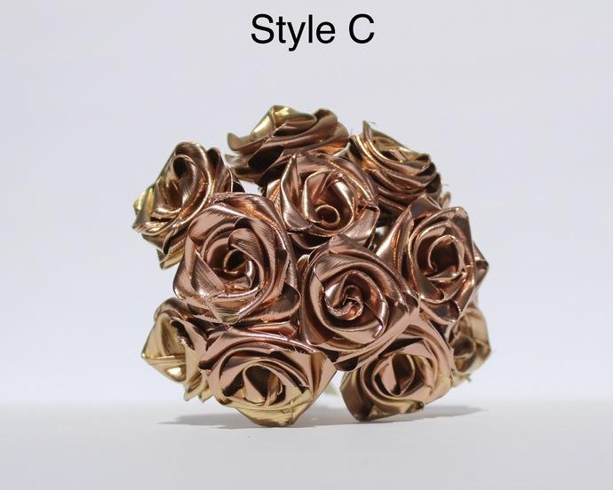 Handmade Gold and Rose Gold Roses One Dozen Natural Leaf Roses that last forever