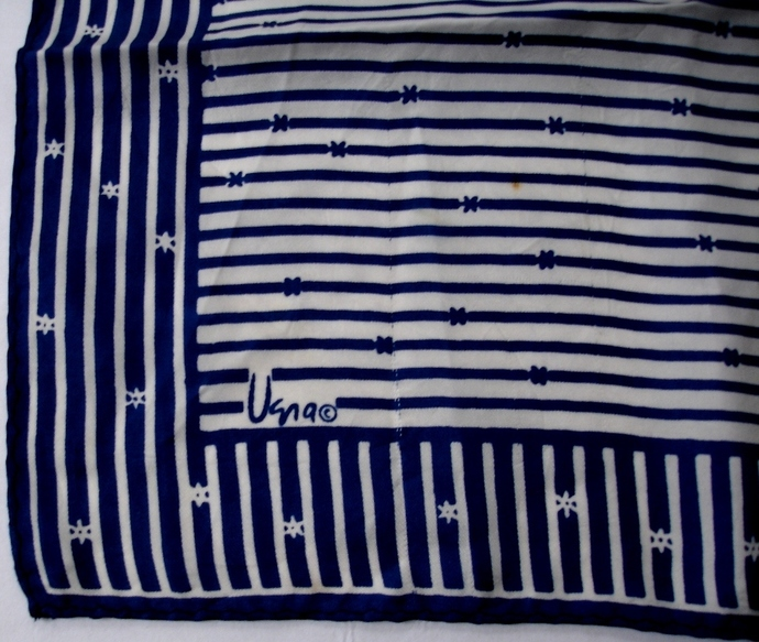 Vera Neumann blue And White Stars And Stripes Scarf Vintage 1970s