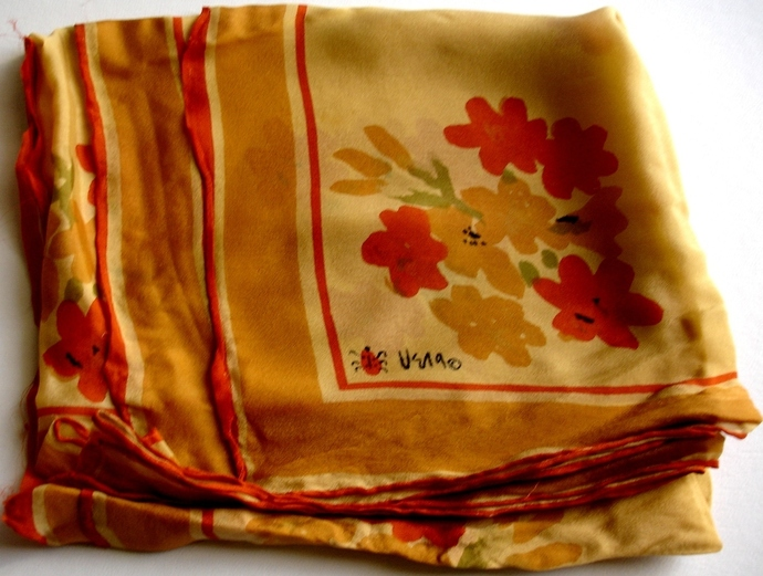 Vera Ladybug Rust Gold And Green Floral Scarf From the 1960s