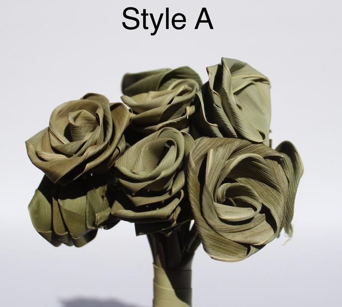 Handmade Natural Sage Green Roses One Dozen Natural Leaf Roses that last forever