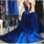 Fashion prom dresses,Royal Blue Velvet Prom Dresses,F1812