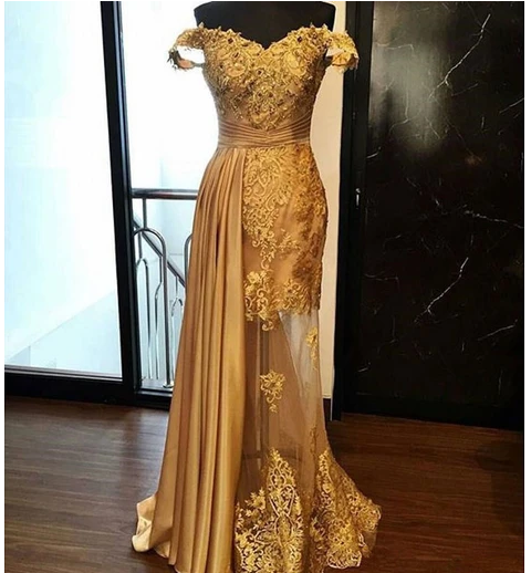 Off the Shoulder Gold Prom Dress Pageant Dress with Illusion Skirt,prom dress,