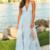 CLight Blue evening dress,Floral V-Neck party dress, Lace long prom dress,