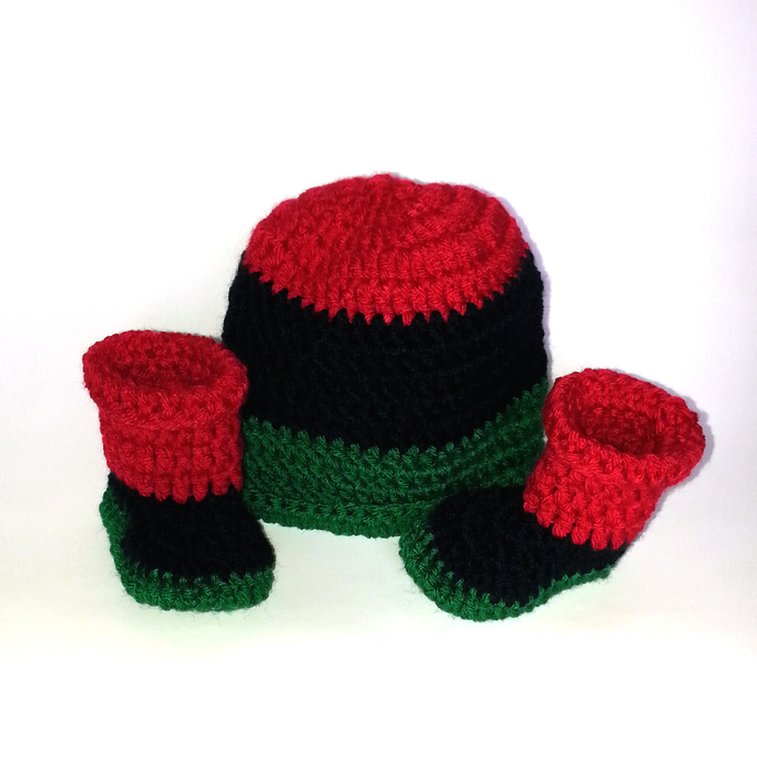 Hat and Booties set in Red Black Green