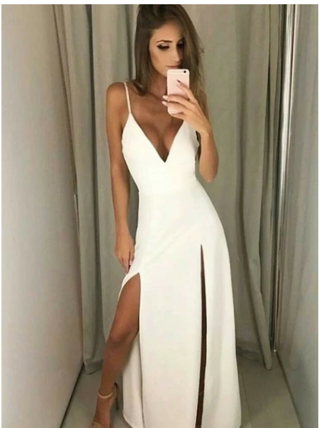 V Neck White Maxi Dress with Slits Simple Prom Dress, F1827
