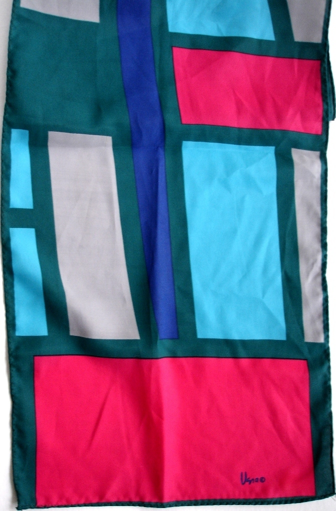 Vera Neumann Hot Pink Purple Blue Green And Gray Geometric Print Scarf 1970s