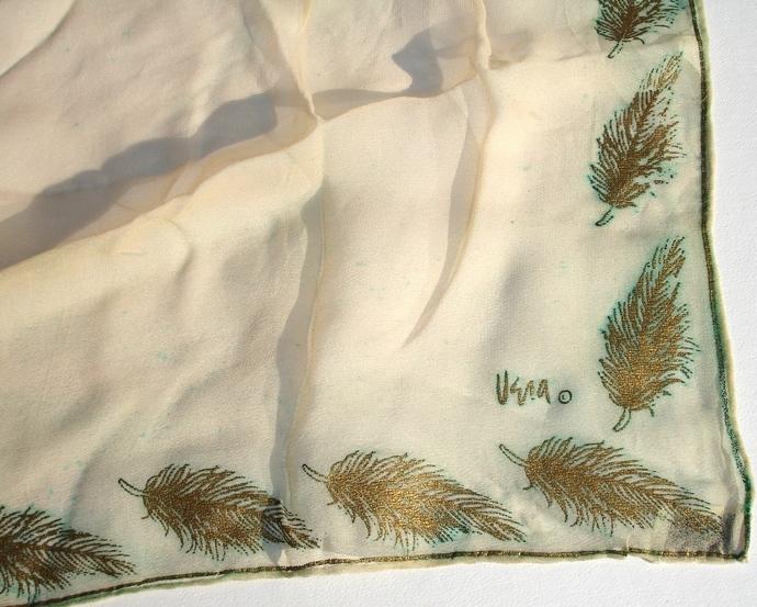 Vera Neumann Sparkling Gold Fern Leaf Design Silk Scarf Vintage 1940s