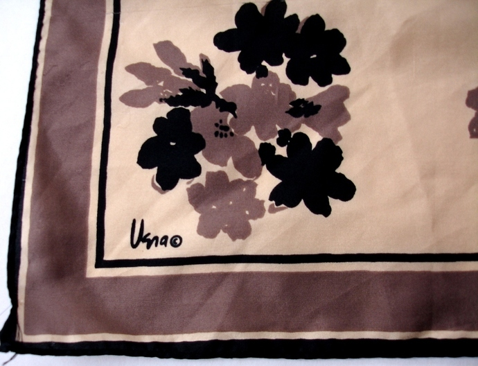 Vera Neumann Brown And Black Floral Design Scarf Vintage Late 1950s