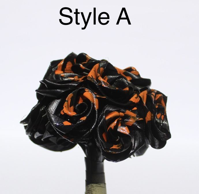 Handmade Halloween Black and Orange Roses One Dozen Natural Leaf Roses that last