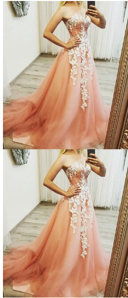 PINK SWEETHEART NECK TULLE LACE APPLIQUE LONG PROM DRESS, EVENING DRESS,prom