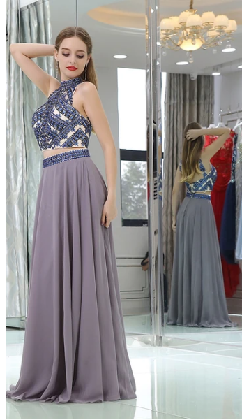 Evening Dress Long New Women Crystals Party Gown Two Piece Formal Evening
