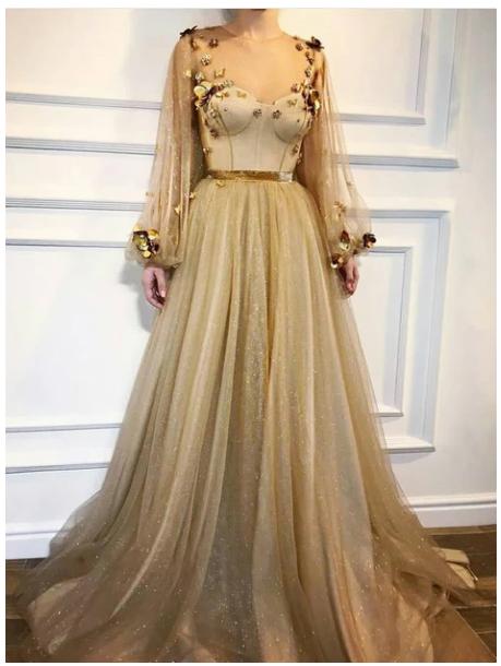 Chic Prom Dresses,A-line Prom Dress,Scoop Prom Dresses,Long Sleeve Prom