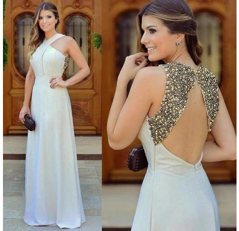 Beautiful Long Zipper Chiffon Beadings Sleevless halter Evening Dress Prom