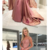 A-Line Spaghetti Straps Backless Sweep Train Rose Pink Prom Dress with