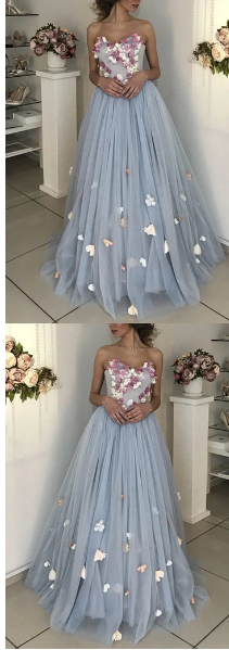 A-line Floral Flowers Sweetheart Tulle Floor Length Wedding Dress Prom