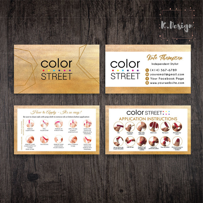 GOLD FOIL COLOR STREET BUSINESS CARDS, PERSONALIZED COLOR STREET APPLICATION