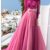 Hot Pink Tulle Lace Evening Dresses Long Sleeves Open Back Two Piece Light