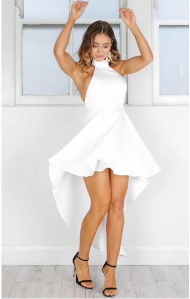 A-Line Juniors' Dresses,Sleeveless High Low Short Prom Dresses,White Homecoming