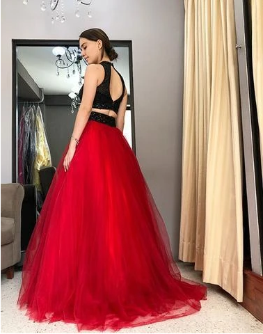 Black Red Two Pieces Prom Dress Black Red Two Pieces Prom Dress Black Red Two