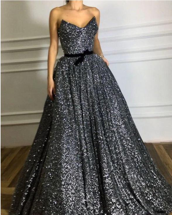 Strapless Sequin A-line Long Prom Dress, Evening Dress,prom dress,F1879