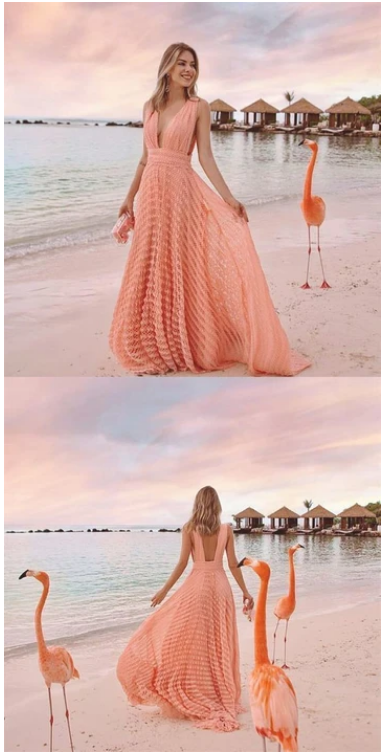 A-Line Deep V-Neck Backless Pink Knit Long Prom Dress,prom dress,F1882