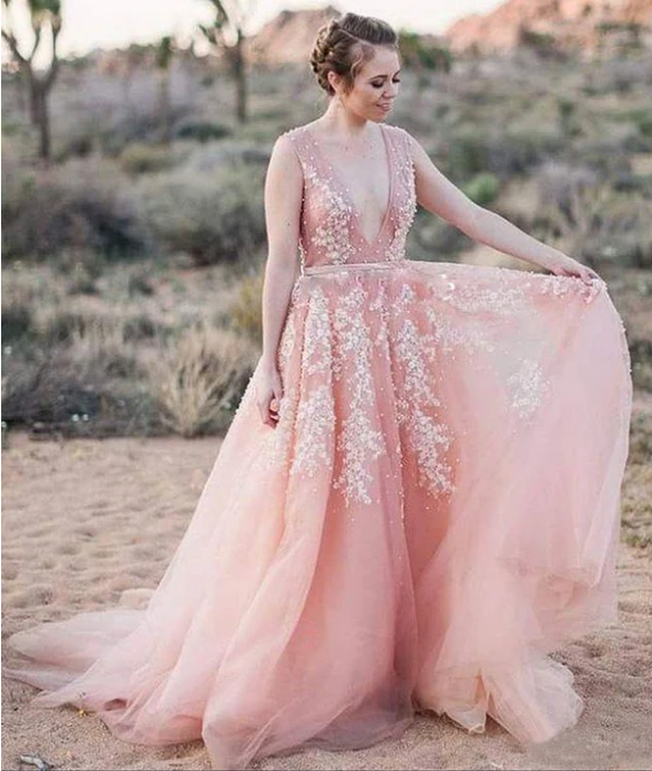 Blush Pink Wedding Dresses,White Lace Appliques Wedding Dress,See Through Bodice