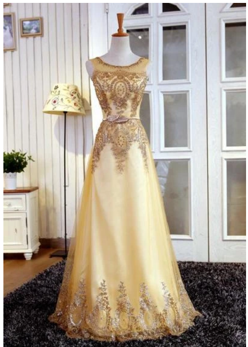 A Line Gold Long Prom Dress,Evening Dress with Beading,prom dress,,F1888