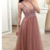 Dusty rose tulle beaded long prom dress with lace up back,F1889