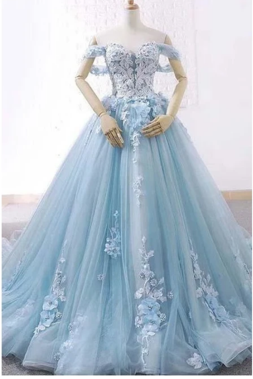 Light Blue Sweetheart Tulle Appliques Ball Gown Prom Dresses,F1893