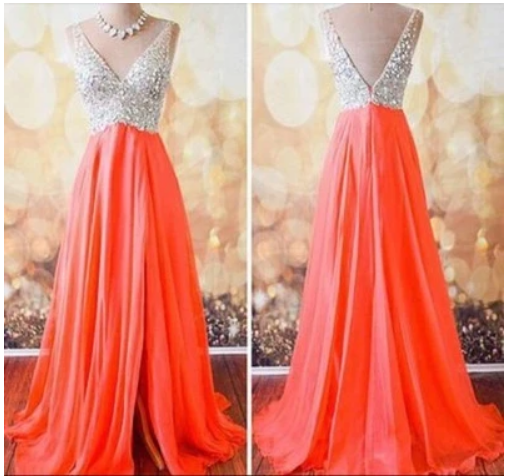 V-Neck prom dresses,Custom prom dress,Long Prom Dresses,Evening Dresses,Formal