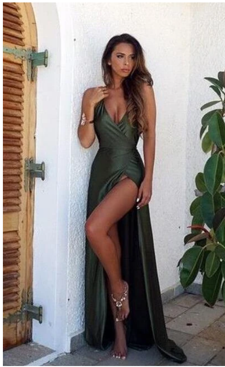 Sexy V Neck Backless Split Prom Dress,Cheap Green Prom Dress. prom dress,F1901