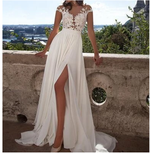Simple Chiffon prom dresses, lace prom dress,long sexy prom dresses, prom