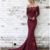 Off Shoulder Mid-sleeve Fitted Lace Mermaid Prom Dresses Evening Dress,F1904