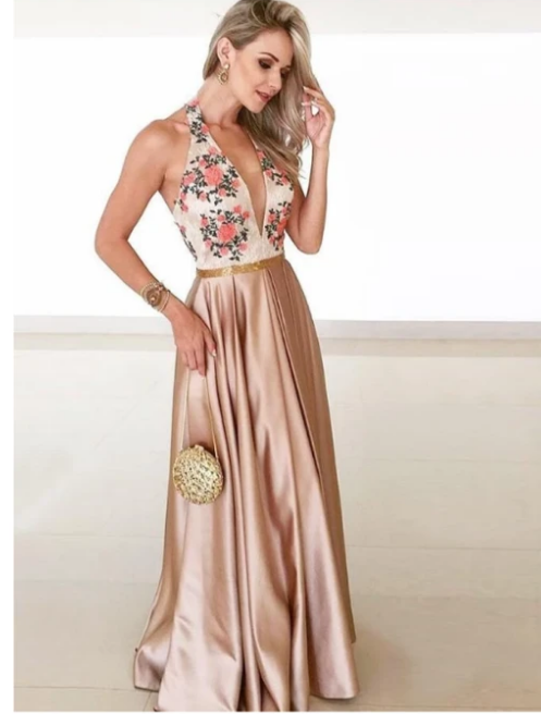 A-line Floor-length Deep V-neck Lace Appliques Long Prom Dress With Pleats,prom