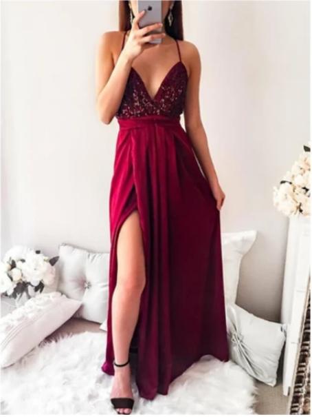 Floor-length Spaghetti Straps Sequins V-neck Split Red Long Prom Dress ,,F1910