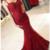 Burgundy Spaghetti Straps Mermaid Prom Dresses, Elegant Low Back Evening Gowns