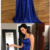 Gorgeous Blue A-Line Satin Backless Split Long Prom Dress with Sweep Train,F1920