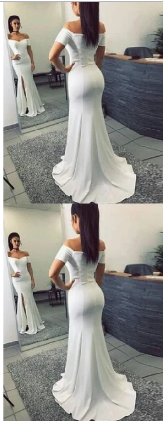 Simple Mermaid Off-The-Shoulder Split Front White Long Prom Dress,F1927