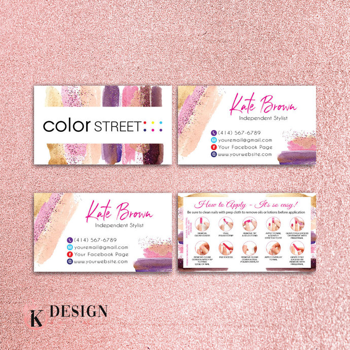GLITTER COLOR STREET BUSINESS CARDS, PERSONALIZED COLOR STREET APPLICATION CARDS