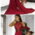Sexy Prom Dress A-Line High Neck Floor-Length Dark Red Prom Dress with Lace